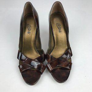 Diba Womens Pump Heels Open Toe 7.5M Brown Shiny